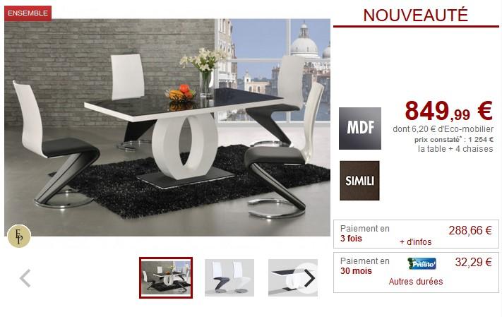 Ensemble Table 4 Chaises Twist Design Noir Et Blanc Pas Cher Table A Manger Vente Unique