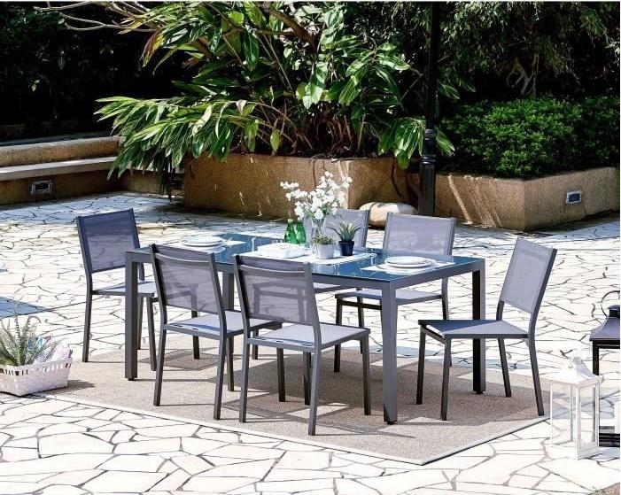 Ensemble table de jardin + 6 chaises aluminium gris pas cher ...