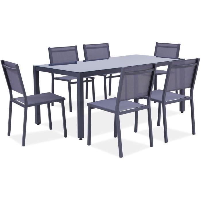 Ensemble table de jardin + 6 chaises aluminium gris