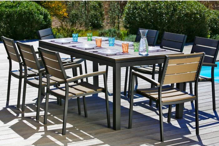 Ensemble table extensible de jardin + 8 fauteuils - Salon de ...