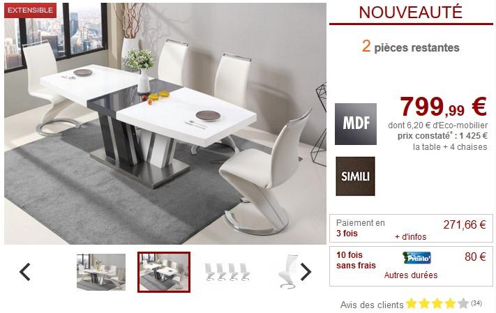 Ensemble table extensible NOAMI + 4 chaises TWIZY Blanc - Vente Unique