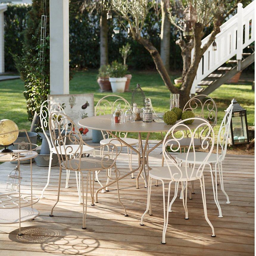 Ensemble table ronde et 4 chaises Montmartre FERMOB - Salon de Jardin Camif