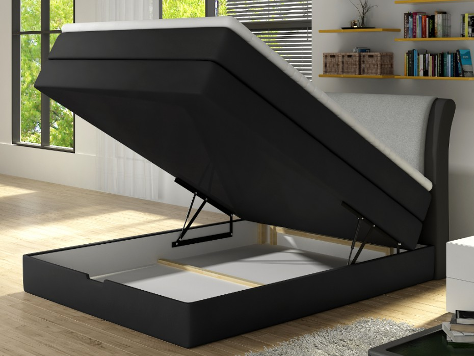 Ensemble boxspring complet lit GRANDIOSE 140x200 anthracite