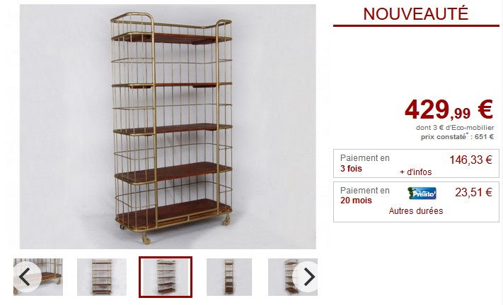 Etagère SARASOTA Bois de manguier et métal doré - Vente Unique