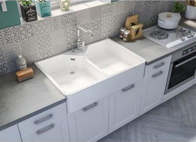 Évier en céramique blanche 2 bacs à poser Timbre Office - Castorama