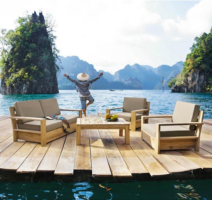 Fauteuil de jardin en teck cadaques fauteuil de jardin - Salon de jardin bambou maison du monde ...
