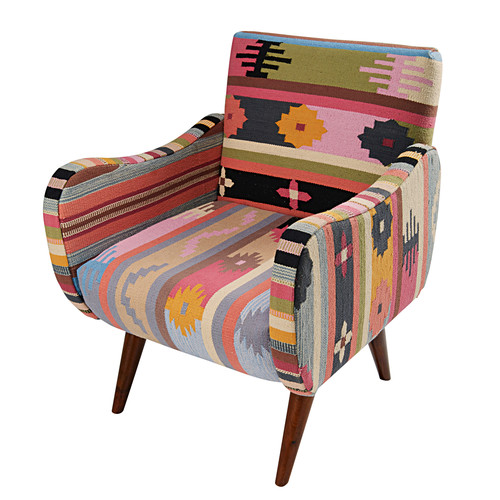 fauteuil arrequipa en tressage kilim multicolore et. Black Bedroom Furniture Sets. Home Design Ideas