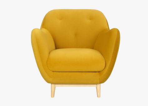 melchior fauteuil en velours moutarde habitat fauteuil. Black Bedroom Furniture Sets. Home Design Ideas