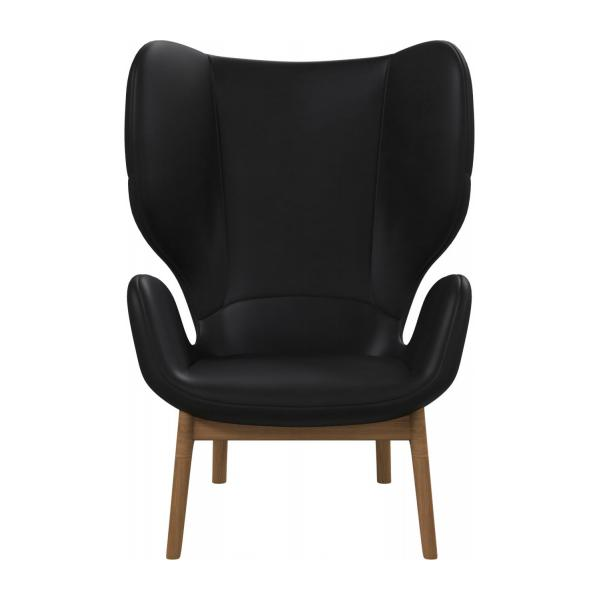 Victorine Fauteuil en cuir aniline Pullman soft black Habitat