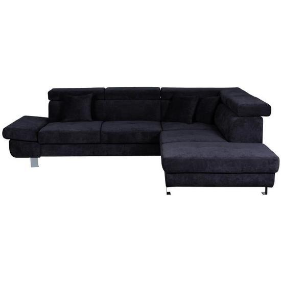 FINK Canapé d'angle droit fixe 5 places Tissu noir Contemporain - Cdiscount
