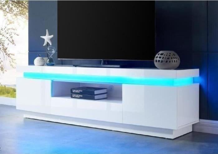 Flash Meuble Tv Avec Led Contemporain Blanc Laque Brillant Pas Cher