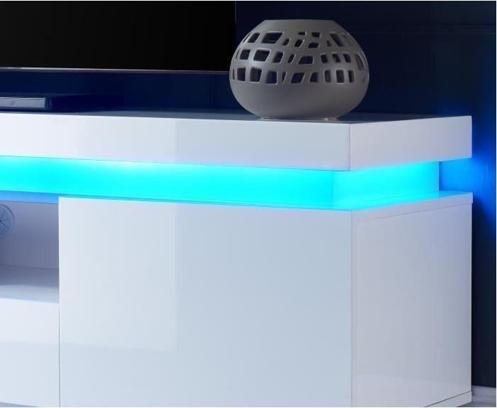 FLASH Meuble TV avec LED contemporain blanc laqué brillant
