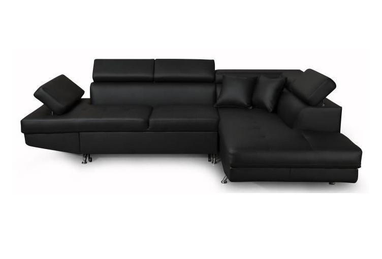 FUTURA Canapé d'angle droit convertible 4 places Simili noir