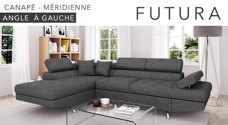 FUTURA Canapé d'angle gauche convertible 4 places + Coffre de rangement Tissu gris foncé