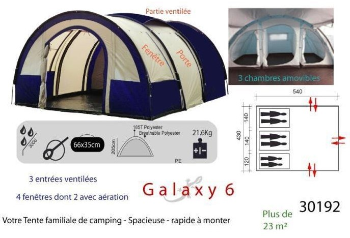 galaxy 6 places tente camping familiale pas cher tente go sport. Black Bedroom Furniture Sets. Home Design Ideas