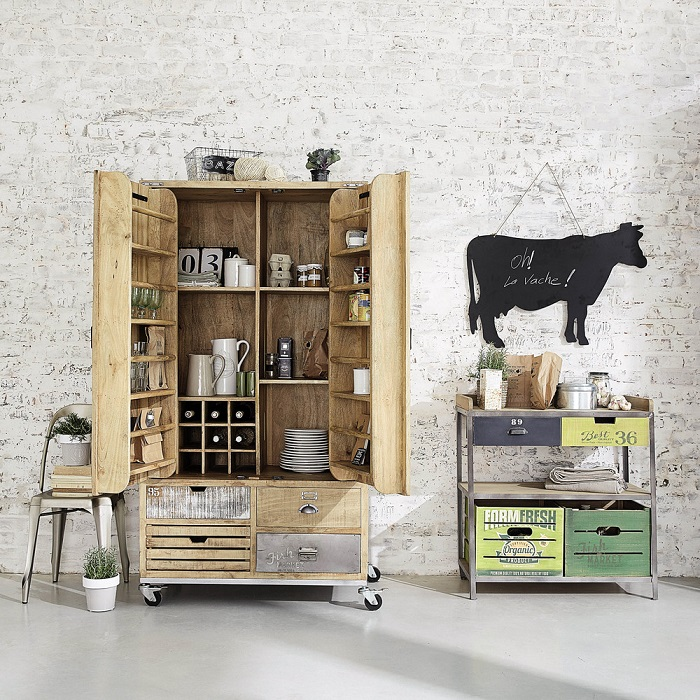 garde manger en manguier farmers buffet maisons du monde. Black Bedroom Furniture Sets. Home Design Ideas