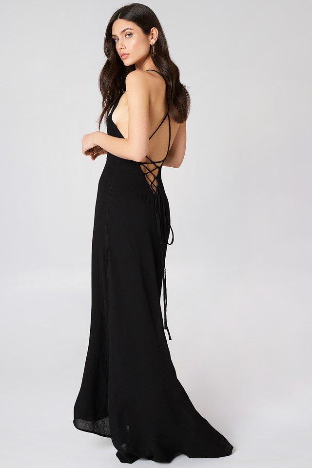 Luna Tie Back Maxi Dress Girl & The Sun NA-KD