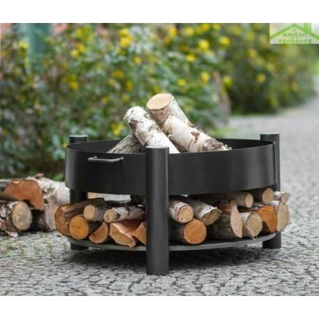 Grille barbecue sur trépied + Brasero SOLAFA avec range bois en acier noir - ManoMano