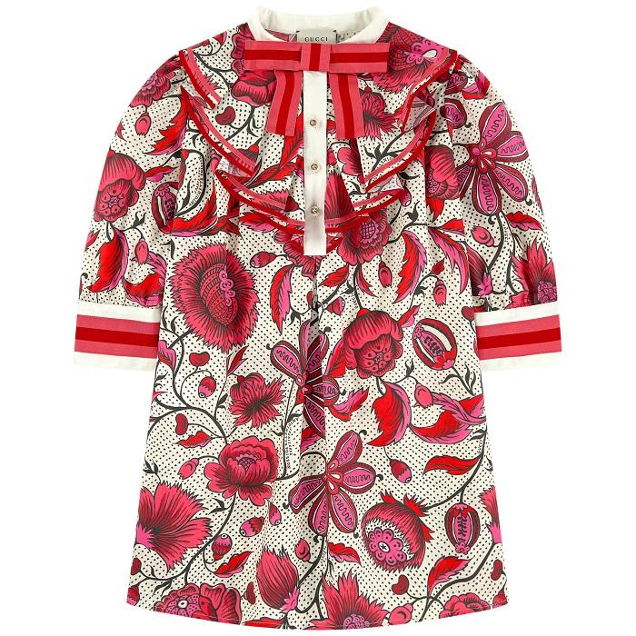 Robe Mini Me à jabot Gucci avec imprimé fleuri pour fille