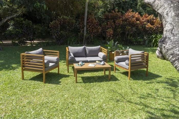 HAWI Salon de jardin 4 places en bois d\'acacia pas cher ...
