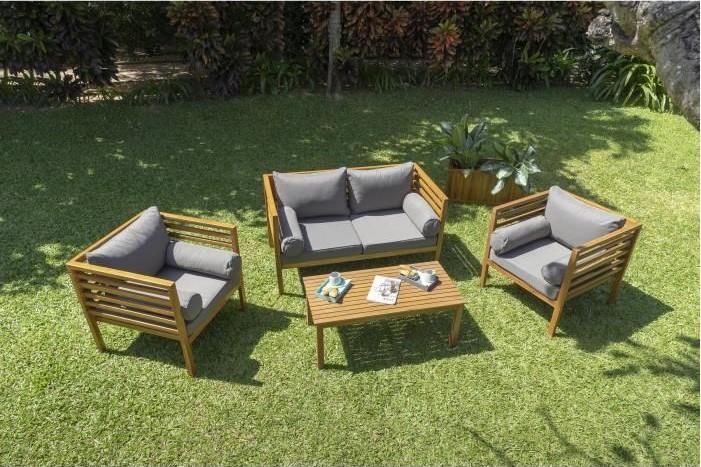 HAWI Salon de jardin 4 places en bois d\'acacia pas cher - Salon de Jardin  Cdiscount