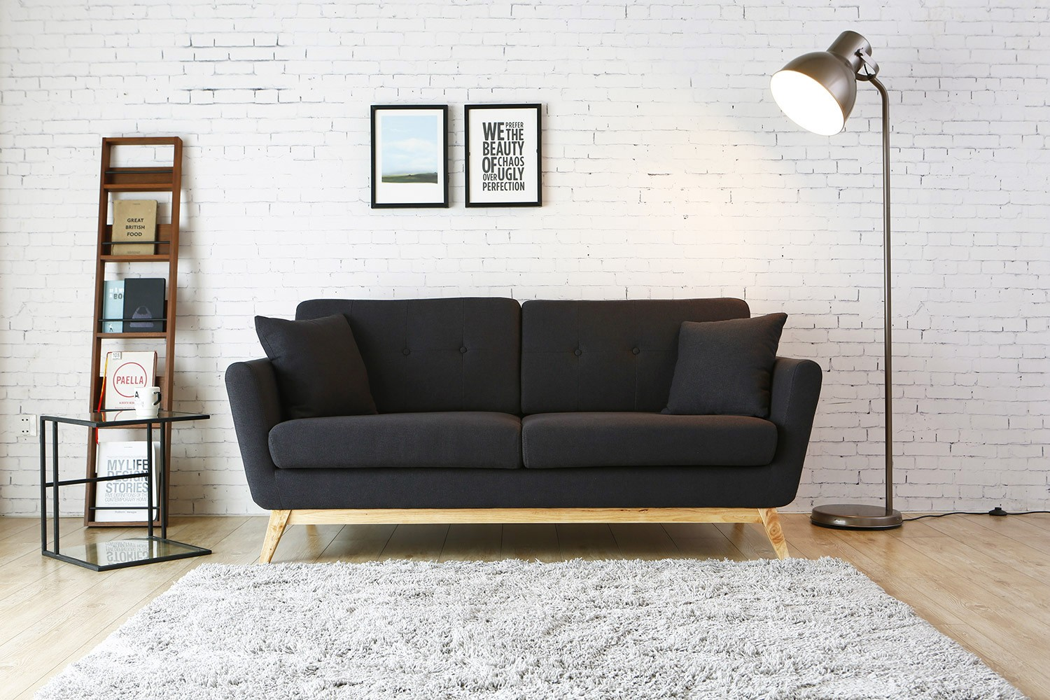 canap scandinave 3 places hga gris anthracite 2 coussins - Canape Scandinave Solde