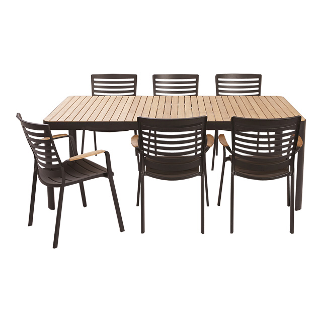 Salon de jardin en bois kea blooma salon de jardin for Table extensible blooma