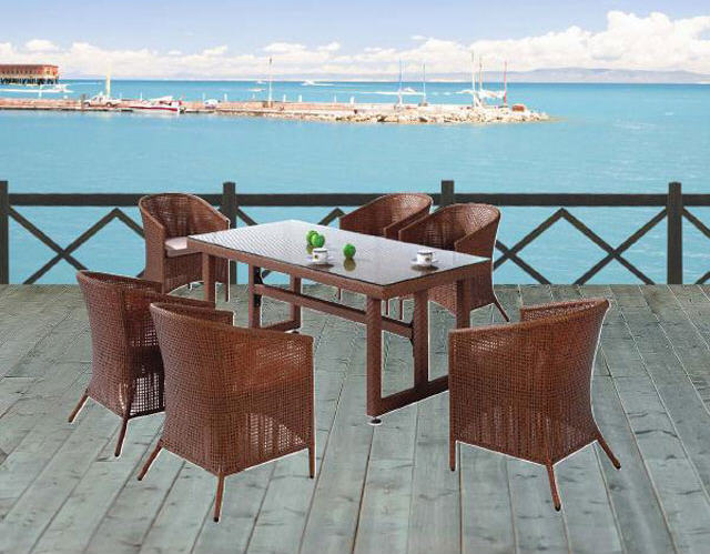 Salon de jardin Castorama, Lot Bandol 1 table + 6 fauteuils ...