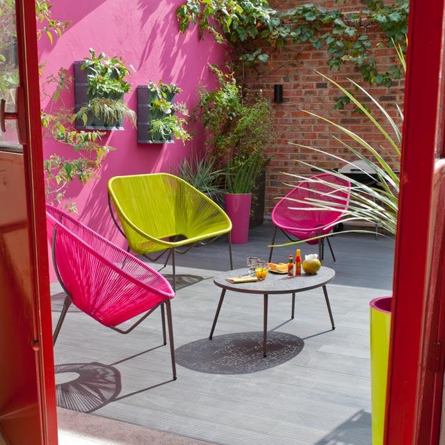 Fauteuil de jardin Castorama, Fauteuil Moretta cordes rose - Iziva.com