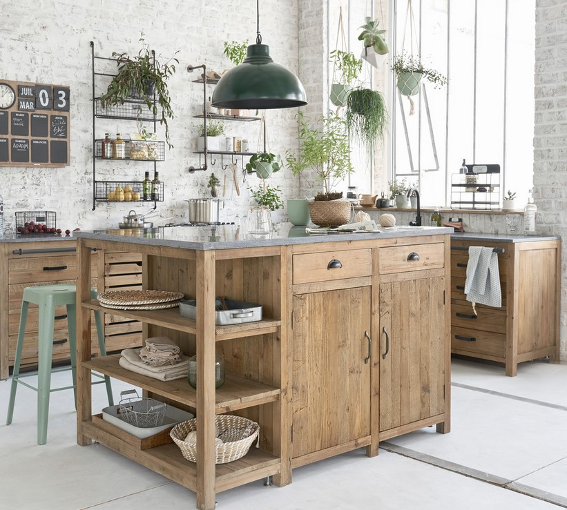 lot central en pin recycl copenhague meuble de cuisine maisons du monde. Black Bedroom Furniture Sets. Home Design Ideas