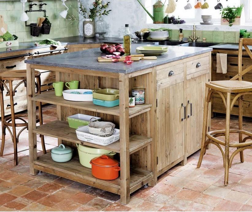 lot central en pin recycl pagnol meuble de cuisine. Black Bedroom Furniture Sets. Home Design Ideas