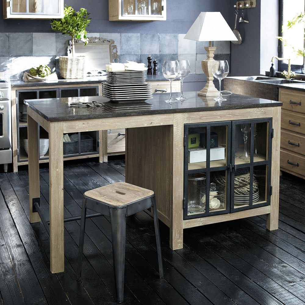 Lot Central En Pin Recycl Copenhague Meuble De Cuisine Maisons  # Meuble Hifi Maison Du Monde