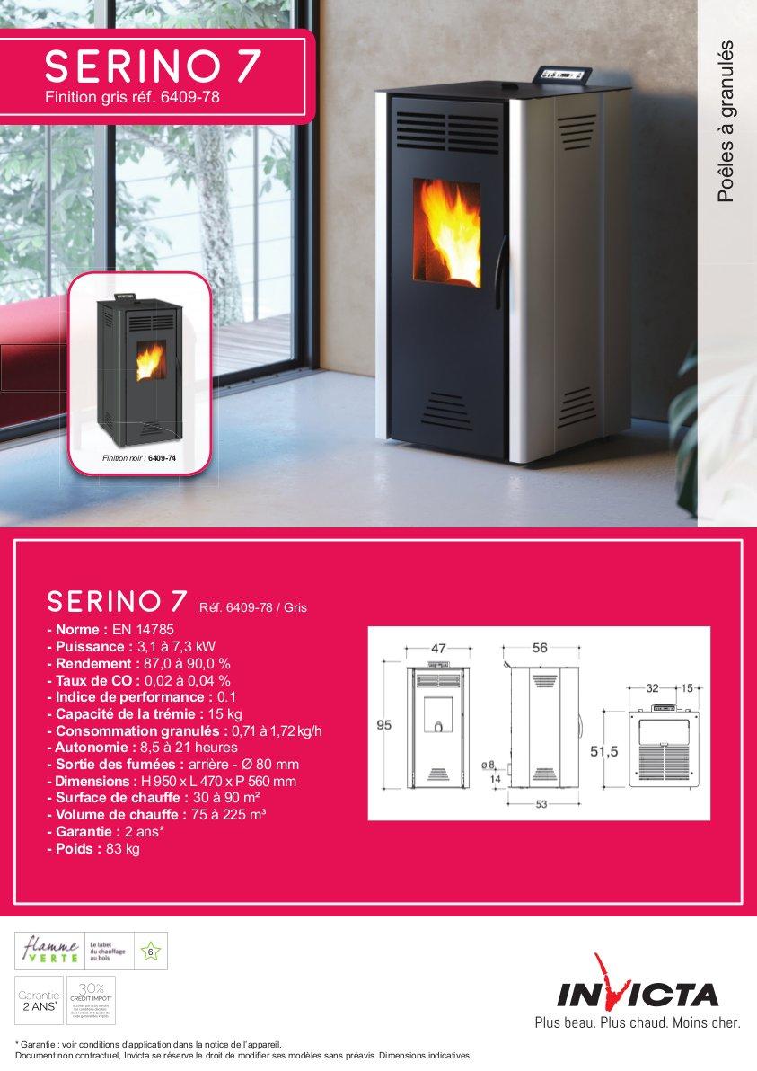 INVICTA Serino 7 Poêle à granulés modulable de 3,1 à 7 kW