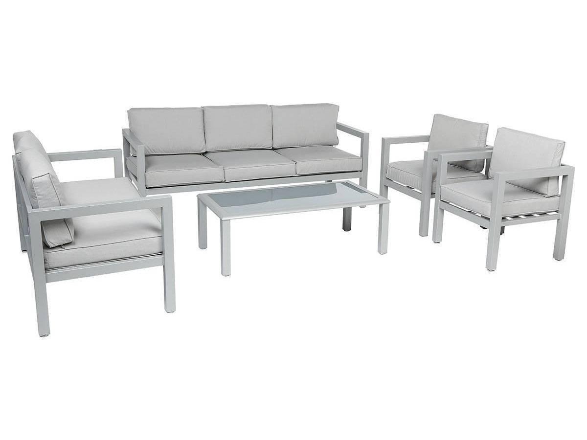 Salon de jardin aluminium 7 places gris Azua Hespéride - Salon de ...