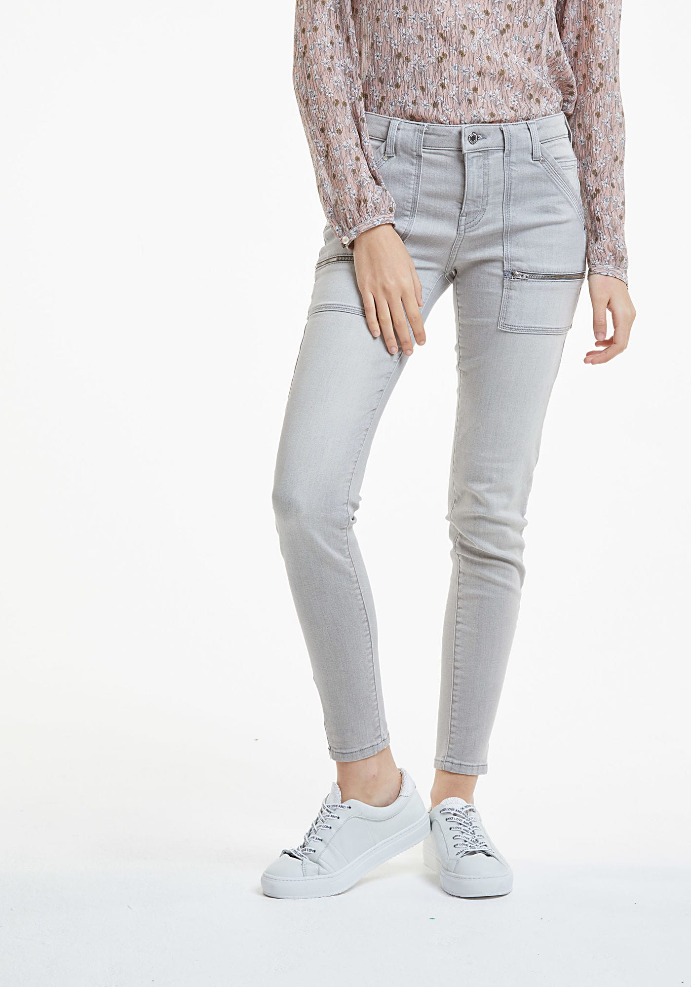 Jean slim gris zips Ice Grey IKKS