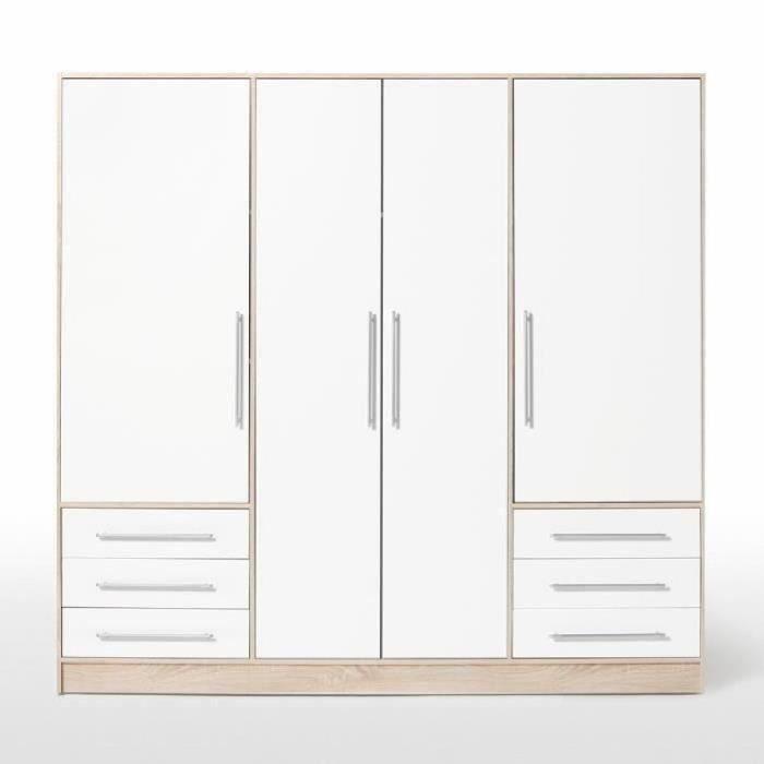 JUPITER Armoire de chambre style contemporain en bois aggloméré blanc et chêne