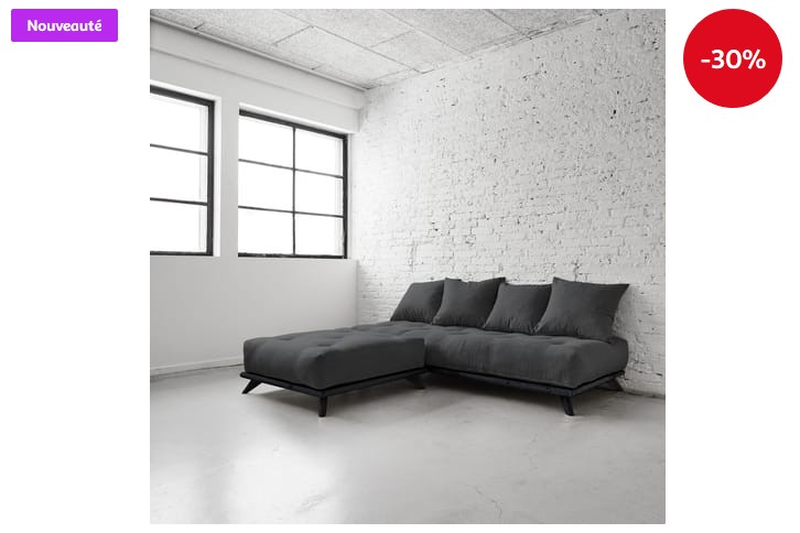 canap 3 places structure noire matelas futon senza karup pas cher canap auchan. Black Bedroom Furniture Sets. Home Design Ideas