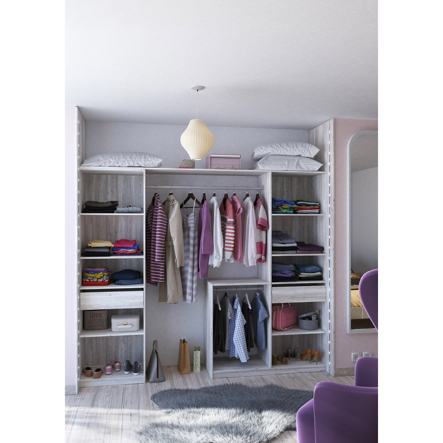 Dressing spaceo home gris dressing leroy merlin - Dressing en kit pas cher ...