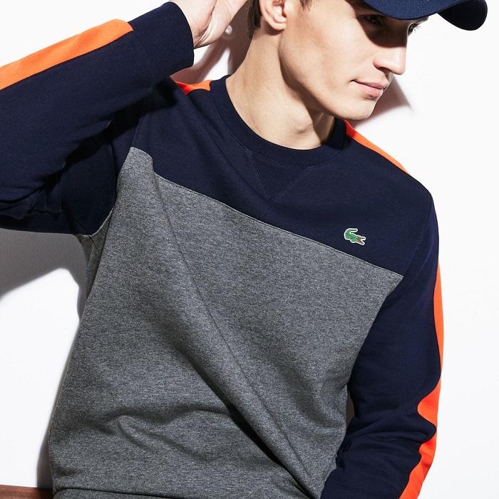Sweatshirt Tennis col rond Lacoste SPORT en molleton color-block pour Homme