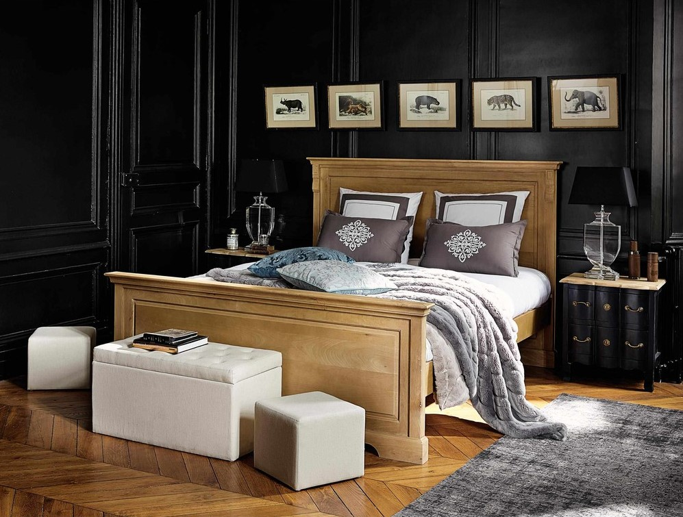 lit 160 x 200 cm stockholm en bois de sheesham massif. Black Bedroom Furniture Sets. Home Design Ideas