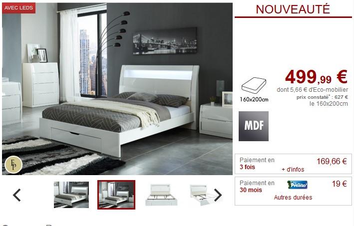 Lit avec tiroir HONORINE 160x200cm MDF et LEDs Blanc