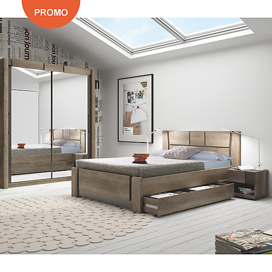lit avec tiroirs douglas ch ne camif lit camif. Black Bedroom Furniture Sets. Home Design Ideas