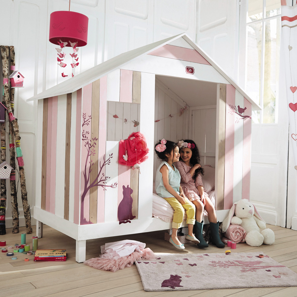 Lit Enfant Maison Du Monde.Lit Cabane Enfant 90 X 190 Cm Violette En Bois Rose Et Blanc