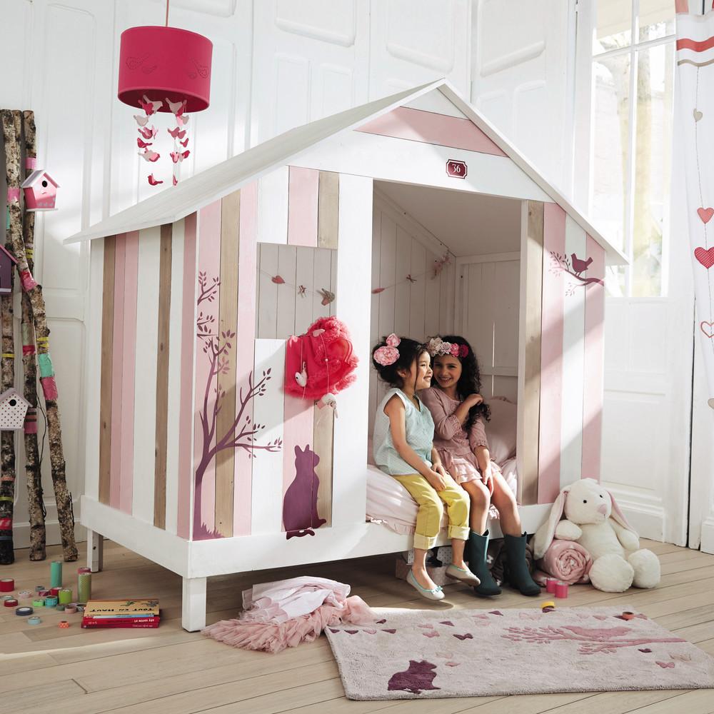 Lit Cabane enfant 90 x 190 cm Violette en bois rose et blanc - Lit ...