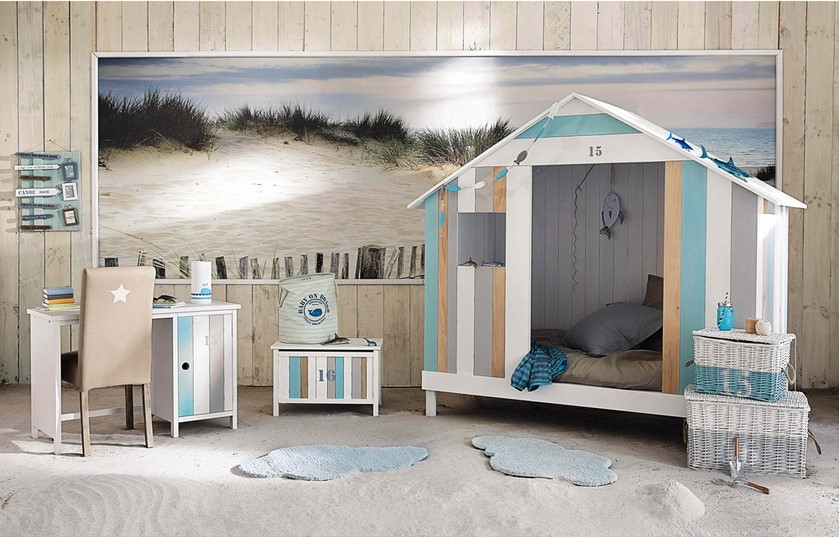 lit cabane enfant oc an en bois blanc et bleu lit enfant. Black Bedroom Furniture Sets. Home Design Ideas