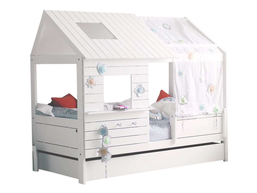 lit cabane fille 90x200cm blanc emilie alfred et compagnie lit enfant delamaison. Black Bedroom Furniture Sets. Home Design Ideas