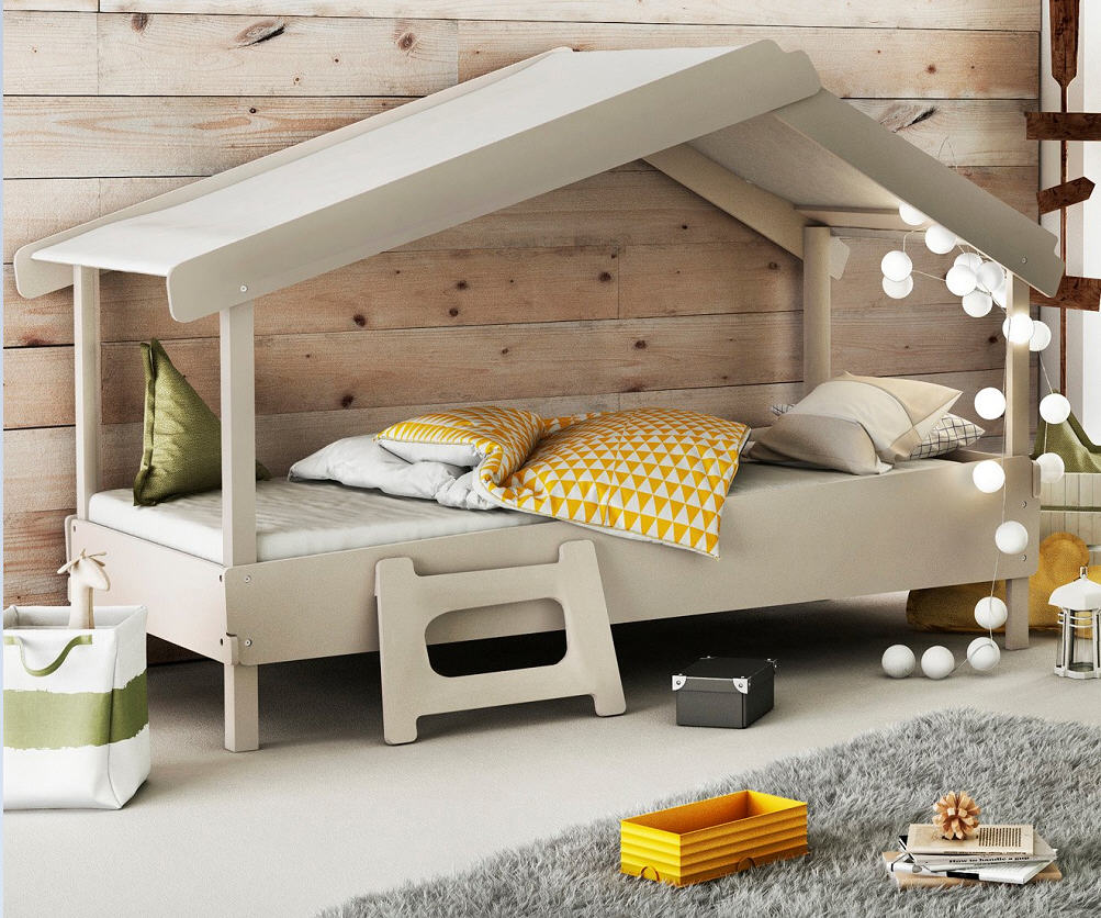 lit cabane enfant oc an en bois blanc et bleu lit enfant maisons du monde. Black Bedroom Furniture Sets. Home Design Ideas