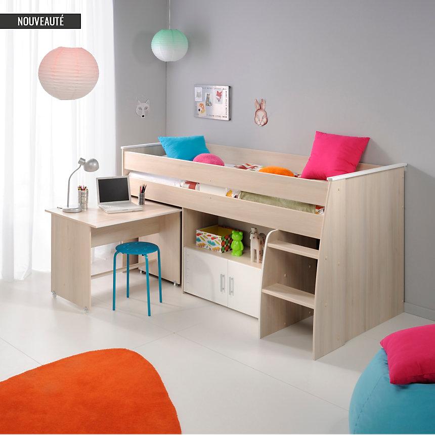 lit combin avec plan de travail rangements lit enfant 3 suisses. Black Bedroom Furniture Sets. Home Design Ideas