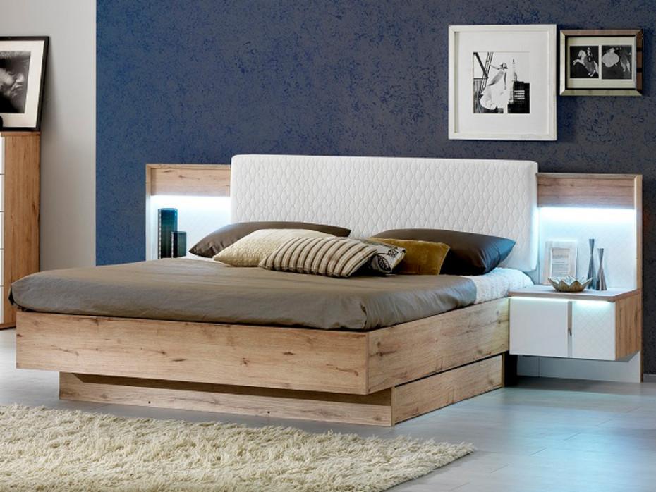 Lit PILLOW Tête de lit capitonnée Tissu 160x200cm Gris