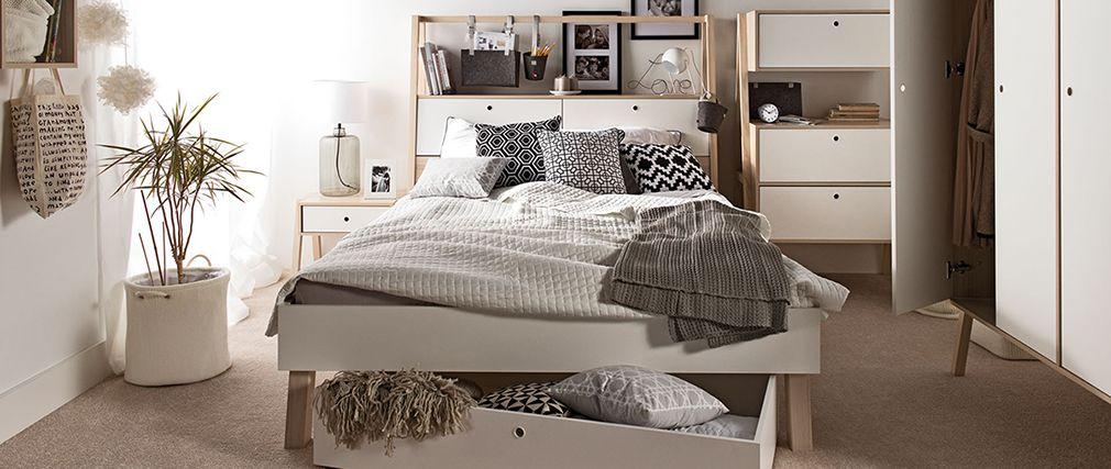 Lit design easy avec rangements 140x200 bois et blanc - Letto sommier 140x200 ...